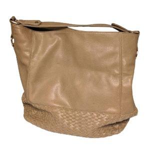 Neiman Marcus Tan Braided Shoulder Bag